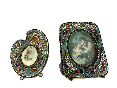 Pair Antique Victorian Italy Floral Micro Mosaic  Brass Picture Photo Frame
