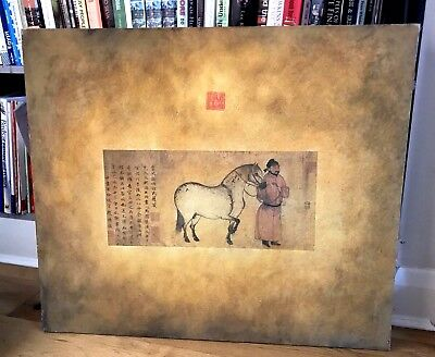 Chinese Painting on Canvas, Scene: Messenger and Horse From Tang Dynasty Period
