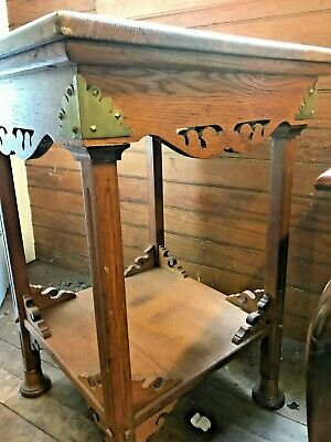 Mission Oak Arts and Crafts Side Table Brass Corners Scroll Trim