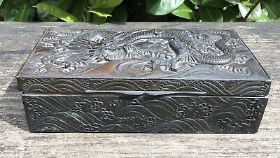 Old Vintage Japanese Metal Box With A Dragon Decorated Top & Marks To Base TLC