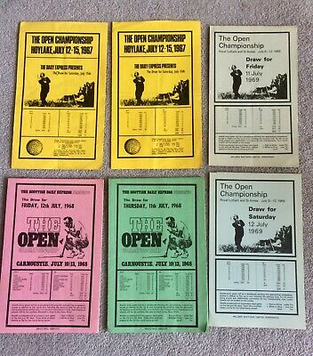 The Open Championship - 1960's Order of Play Draw sheets.