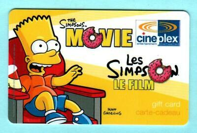 CINEPLEX ( Canada ) The Simpsons Movie - Bart 2007 Gift Card ( $0 )