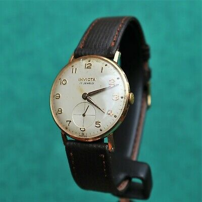 INVICTA Gold Plated Vintage 1960s Watch FHF 76 Montre Orologio Reloj Uhr Swiss