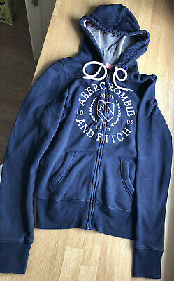 Abercrombie and fitch Womens Girls Hoody Hoodie Jacket Zipped Top S-M Navy Blue