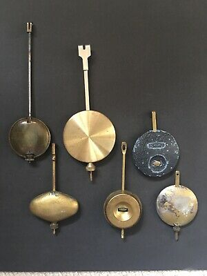 6 Antique Clock Pendulums, various shapes, sizes and weights