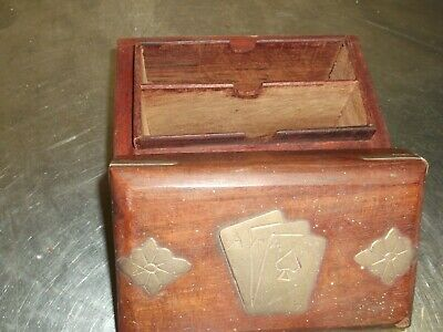 Vintage Antique Wooden Playing Card Box