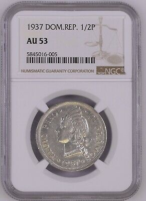 Dominican Republic 1937 1/2 Peso NGC AU53 Coin Key Date