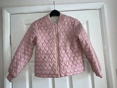 Girls Pink Quilted Lined Jacket. Age 8-9. George. Used