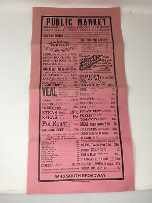 1930's Public Market Advertising Poster Wall Grocery Store Englewood CO Miller's
