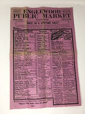 1930's Miller's Public Market Advertising Poster Wall Grocery Store Englewood CO