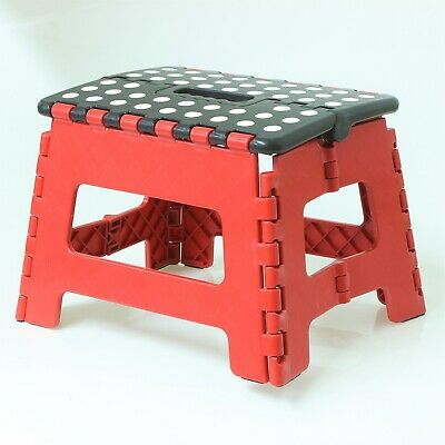 Small Red Black Lightweight Moulded Plastic Folding Foldable Step Standing Stool