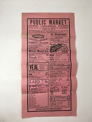 1930's Public Market Advertising Poster Wall Sheet Grocery Store Englewood CO