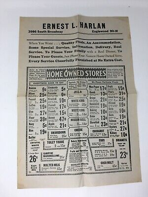 1930's Grocery Store Advertising Poster Wall Sheet Ernest L. Harlan Englewood CO