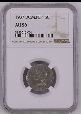 Dominican Republic 5 Cents 1937 NGC AU58 Coin Key Date