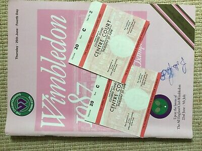 WIMBLEDON TENNIS PROGRAMME 1987 Forth Day 25th June Signed Becker With Tickets