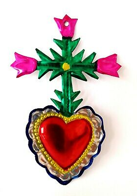 Authentic Mexican Tin Heart w/ Cross & Roses Milagro Handcut Tin Folk Art