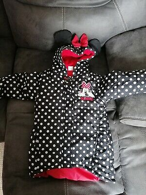 Girls Disney Minnie Mouse Spotty waterproof coat zip front hooded Jacket 6 years