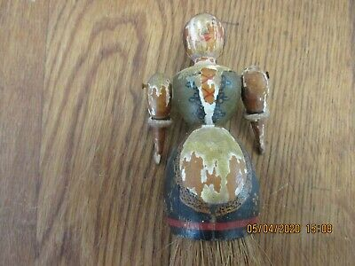 Antique Painted Gesso Carved Wooden Doll Clothes Brush German Black Forest