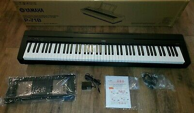 Yamaha P71 88-Key Digital Piano w/ Sustain Pedal & Power Supply Blk Tested/Works