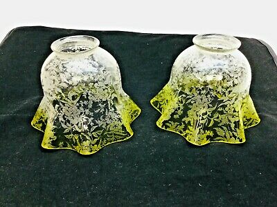 Pair Antique Lamp Shades Ruffled & Etched Glass Floral Flowers Yellow Fade, Gas