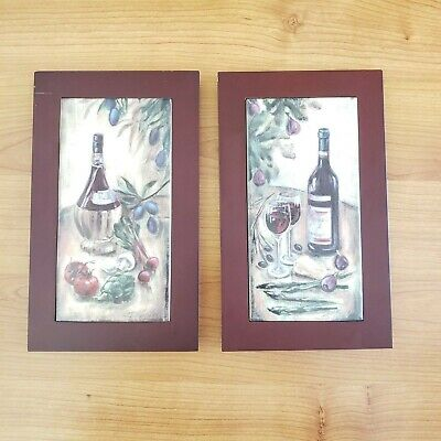 Wine Decorative Wall Wood Frame Ceramic Tile Trivet, Art by Silvia Vassileva