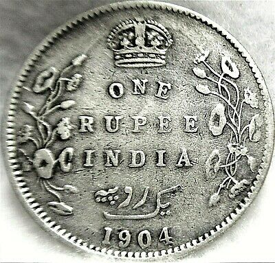 1904 INDIA-BRITISH, 1 Rupee Silver, VF, 91.7% Silver ~ KM# 508