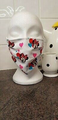 Brand new cotton face mask. Made from Disney Minnie Mouse love heart fabric 1