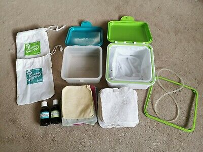 Cheeky Wipes Kit - boxes, oils, travel bags, mesh bag & wipes. Great condition.