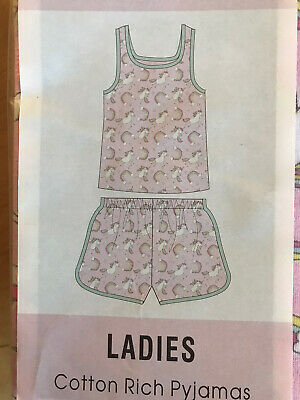 Ladies Women's Summer Pyjamas Pj Set Size 16 18 Unicorns Pink Vest Top Shorts