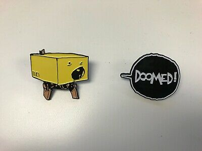 2 Ashley Wood Pins : Doomed! : Square Robot