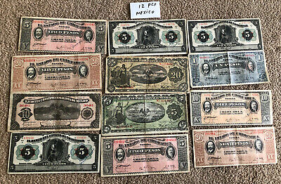 Group LOT OF 12 Mexico Mexican Currency 1 - 20 Pesos Paper Money Notes
