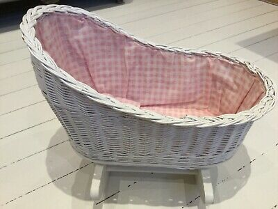White wicker dolls rocking crib cradle pink and white checked gingham lining