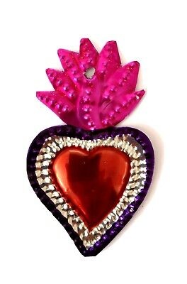 Authentic Mexican Tin Mini Flaming Heart Milagro  Handcut Tin Folk Art