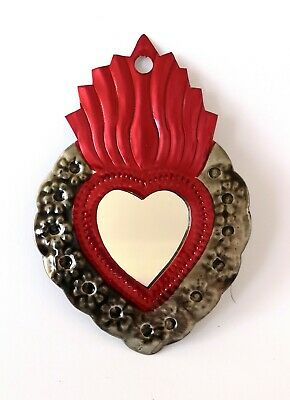 Mexican Mini Tin Heart Milagro Decoration Mirror Natural Tin Antiqued Patina #2