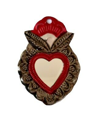 Mexican Mini Tin Heart Milagro Decoration Mirror Natural Tin Antiqued Patina #7