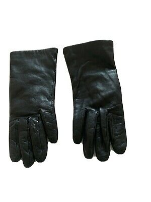 Ladies Wrist Length Calf Skin Leather Lined Gloves Size 7 1/2 Black