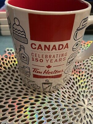 Tim Hortons CANADA 150 Years Ceramic Mug Cup LIMITED Edition 2017 RED WHITE