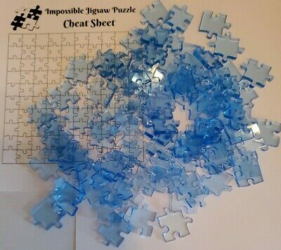 Clear BLUE Acrylic IMPOSSIBLE JIGSAW PUZZLE 100 Pieces Quarantine Activity