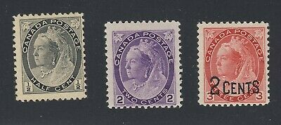 3x Mint Canada Victoria Stamps #74-1/2c #76-2c #88-2c/3c Guide Value = $45.00