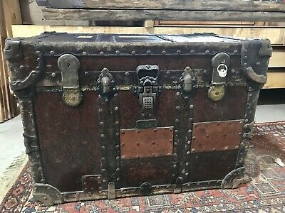 Antique Crouch & Fitzgerald Steamer Trunk All Original