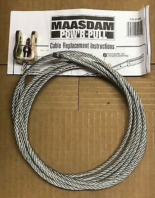 """Maasdam Pow'r Pull Cable Only comealong wench hoist 12'  Long 1/4"""" Diameter"""