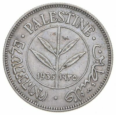 SILVER - Roughly Size of Quarter - 1935 Palestine 50 Mils World Silver Coin *793