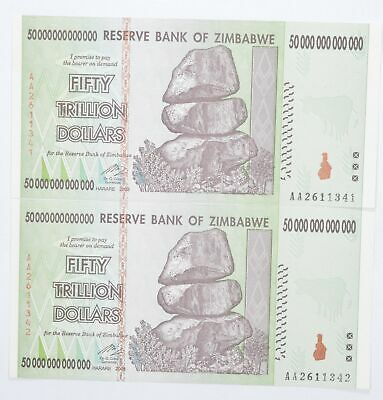 2 Consecutive 50 TRILLION Dollar Zimbabwe Uncirculated Notes 2008 Authentic *620