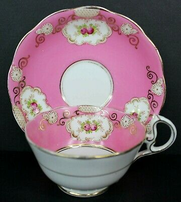 Royal Albert Crown China Tea Cup and Saucer In Hot Pink with Pink Roses