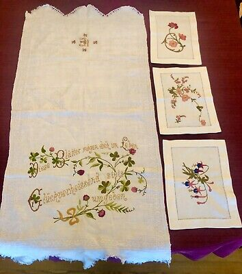 "4 Pieces Antique European Austrian Embroidery 3 Are 8""x11"" And Large Is 42""x19"""