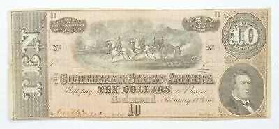 Genuine CIVIL WAR 1864 $10 C. S. A. Over 150 Years Old Horse Blanket Note *259