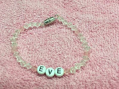 """6"""" PERSONALIZED BEADED NAME BRACELET WITH THE NAME Eve"""