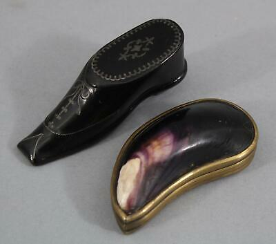 19thC Antique Folk Art Paper Mache Pewter Shoe & Polished Mussel Shell Snuff Box