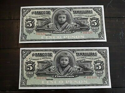 2 Mexican Revolution Banco de Tamaulipas 5 Pesos Consecutive Notes CH/GEM   #10