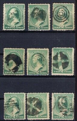 9 USA Fancy Cancels 2c Green Banknote stamps. Wedge, Pinwheel, etc